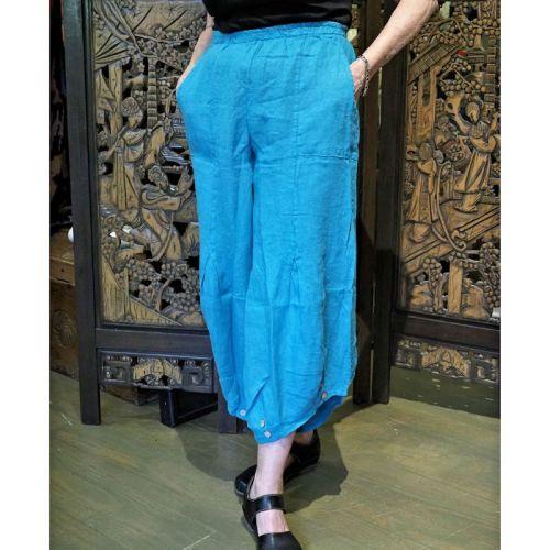 Button-detail linen pants