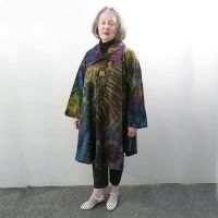 Tie dye swing coat with buttons