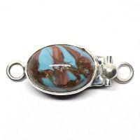Oval blue swirl clasp