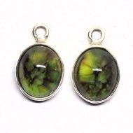 Faux green opal earring drop