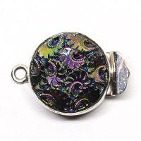 Rainbow purple gold round flower clasp