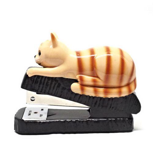 Orange cat stapler