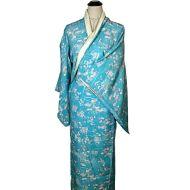 Light blue flower and leaf kimono