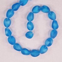 14 mm by 10 mm vintage German glass irregular oval beads