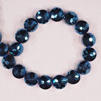 12 mm by 12 mm midnight blue faceted disc beads