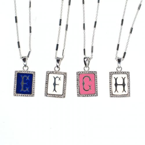 Initial pendant necklace - E to H