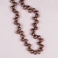 6 mm brown top-drilled egg-shaped pearls