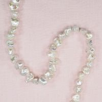 8 mm by 10 mm Baroque white potato pearls