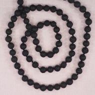 8 mm round black lava mala