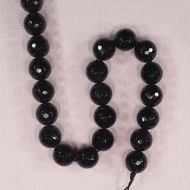 14 mm faceted round black onyx beads